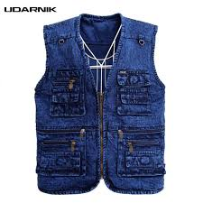 <b>Men</b> Multipockets Denim Waistcoat Safari Style Jeans Vest <b>Plus</b> ...