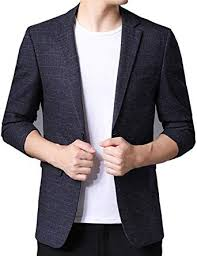 LuckyBov <b>Men Blue Single Breasted</b> Jacket Notched Lapel Tailored ...