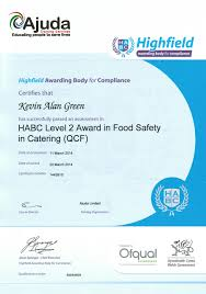 certificates habc level 2 award in food safety