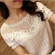 2016 Women <b>Spring Summer Lace Hollow</b> Out Tops Plus Size ...