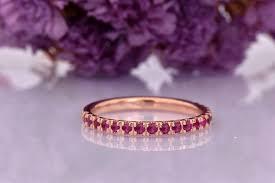 Dainty Half Eternity Red Ruby Wedding Band in <b>14k Rose Gold</b> ...