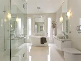 pics of bathroom designs: modern bathroom design with freestanding bath using frameless glass bathroom photo