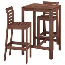 ÄPPLARÖ Bar table and <b>2 bar stools</b> - <b>brown</b> stained - IKEA