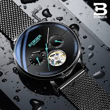 BINGER Switzerland Men Watch <b>Waterproof Automatic Mechanical</b> ...