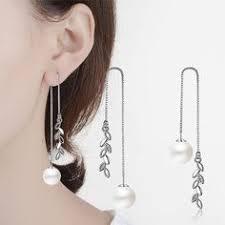Fashion Silver <b>Earrings</b> Double Artificial Pearl <b>Earrings</b> Long ...