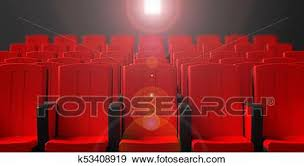 Cinema <b>chairs</b> on <b>dark background</b> with <b>projection</b> light, front view ...