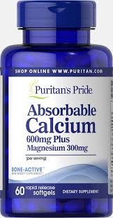 <b>Absorbable Calcium</b> 600 mg plus Magnesium 300 mg 60 Softgels ...