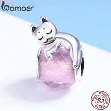 Online Shop BAMOER <b>Authentic 100</b>% <b>925 Sterling</b> Silver Cute Cat ...
