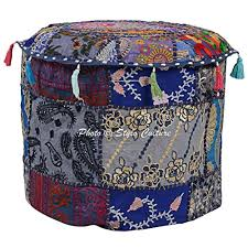 Stylo Culture <b>Cotton Round Patchwork Pouffe</b> Seat Embroidered ...