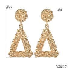 <b>Ladies Gold Geometric Big</b> Vintage Earrings Geometric Statement ...