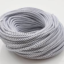 10m 2075 white and black color vintage style edison light lamp cord grip twisted black fabric lighting