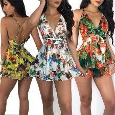 Hot Selling <b>Sexy Women Summer Floral</b> Jumpsuit Sleeveless High ...