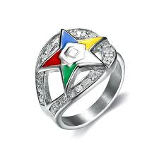 Fashionable Order of eastern <b>star rings</b> 316L <b>stainless steel</b> silver ...