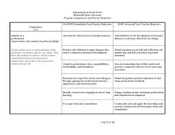 cswe competencies and practice behaviors table
