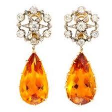 Antique Diamond and <b>Citrine</b> Star Earrings | Fine jewellery earrings ...