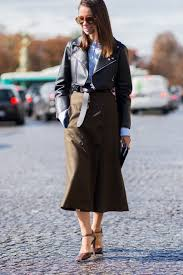 stylish and professional outfits to wear on a job interview cold weather winter interview outfit midi skirt leather jacket