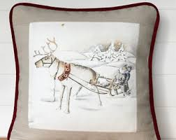 cabin decor lodge sled: winter or christmas pillow covers brand new olivier thevenon paris fabric reindeer sled dogs winter cushions sleds lodge cabin decor