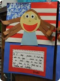 For this assignment  students create a flag background and design their portraits on top  These colorful projects and creative writing assignments would