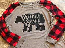 MAMA BEAR Plaid Print T Shirt <b>Autumn Long Sleeve</b> Crewneck ...