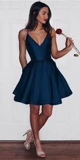Simple V-Neck <b>Short Prom</b> Dress with Spaghetti Straps <b>Custom</b> ...