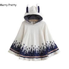 <b>Merry Pretty</b> Cloak outerwear women <b>autumn</b> rabbit print ear stereo ...