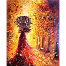 Framed DIY <b>Painting By Numbers</b> Beautiful Women Autumn ...