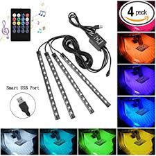 Car LED Strip Lights, 4pcs 48 USB LED Interior Lights ... - Amazon.com