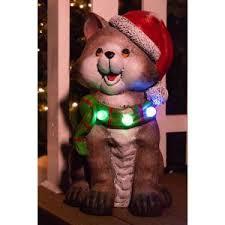 Alpine Corporation <b>21</b> in. Cat wearing <b>Santa Hat</b> and Green Scarf ...
