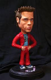 best images about in tyler we trust fight club brad pitt as tyler durden from the best movie fight club now as a bobble head its made from sculpey and look he s even got little bars of hi