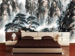 bedroom trendy interior for asian bedroom decor in contemporary style with awesome painting of mountain asian style bedroom design