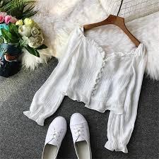 Spring Women Hollow Out Blouse <b>Sweet</b> Ruffles Lace Shirts Female ...