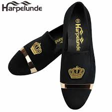 <b>Harpelunde Men</b> Dress <b>Wedding Shoes</b> Bullion Black Velvet ...