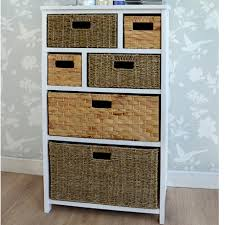 white storage unit wicker: tetbury white chest of drawers with  baskets in natural colour