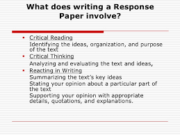 How To Write A Reaction Response Paper RESPONSE PAPER lt br   gt      What does writing