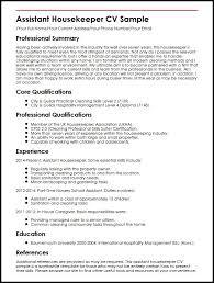 assistant housekeeper cv sample   curriculum vitae builderassistant housekeeper cv sample
