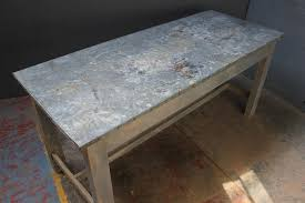 images zinc table top: old zinc top table with original painted base