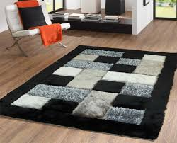 luxurious shag rug in grey and black with unique checker geometric design 4 x 5 black shag rug