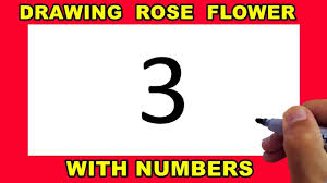 Beautiful <b>Rose</b> Flower <b>Drawing</b> With <b>Number</b> 3 Step by Step for ...