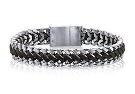 <b>SPARTAN</b> Men's Bracelet in <b>Stainless Steel</b> with Genuine Leather ...