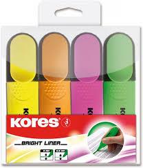 """<b>Kores Маркер выделитель</b> текста """"<b>Kores</b>"""", набор 4 цвета"""