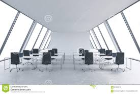 workplaces in a bright modern open space loft office white tables and black chairs bright modern office space