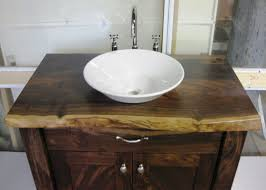 walnut bathroom vanity modern ridge: vessel rustic bathroom vanity cabinet design ideas with reclaimed wooden pine varnish and white porcelain vessel bowl sink using chrome high arch faucet