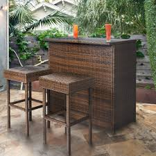 wicker bar height dining table: pc wicker bar set patio outdoor backyard table amp  stools rattan furniture