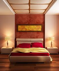 red wall paint black bed: cream painted wall for small bedroom