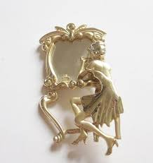 table mirror: vintage s signed ajc gold tone figural lady at dressing table mirror brooch