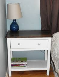 Modern Bedroom Side Tables Clear Coating Mahogany Wood Nightstand With Shelf And Round Metal