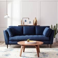 blue sofas living room: james mid century sonoma navy blue sofa overstockcom shopping the best deals