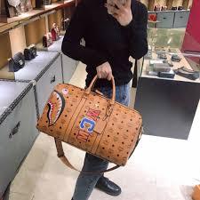 MCM <b>Bape Shark</b> Fashion Travel bag Graffiti <b>printing</b> pattern