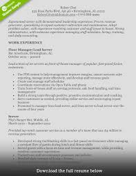 food resume service food service resume