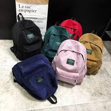 Women Corduroy <b>Canvas</b> Backpack Female Soft Velvet School Bag ...